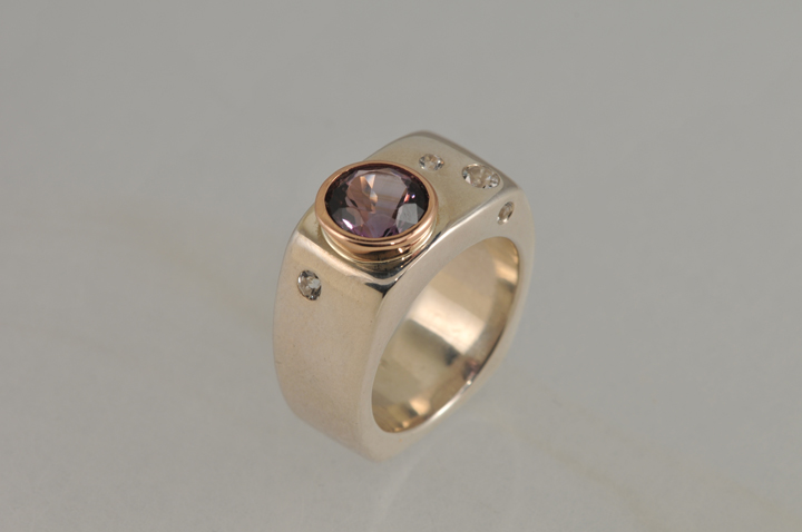 Sterling silver 14k rose gold ring with amethyst & white sapphires