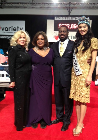 Wicker, Alfreda Burke, Roderick Dixon and Miss World from China, Wenxia Yu.