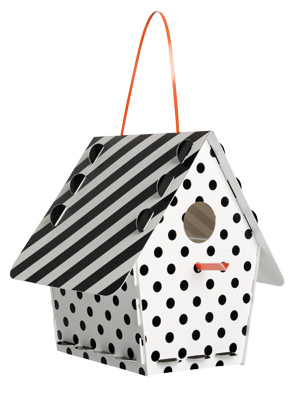 The housing market is definitely on the rebound! Tweet Tweet Home black and white recyclable birdhouse ($13.95 at Wicker and the Works in West  Des Moines). Assembly needed, but don't worry. It's easy; a few sips of wine and you'll be done.