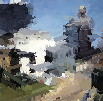 """The City of Des Moines"" (2004) by Alex Brown, oil paint on canvas, 70 x 70 inches. Courtesy of Feature Inc., New York."