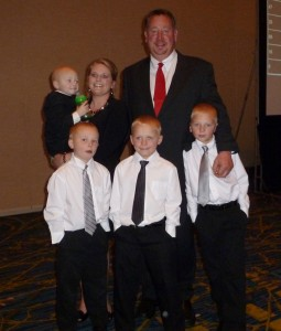 A family who has benefited from Ronald McDonald House: Cora and Scott Lahr with  their sons. The family is from Lake View, Iowa.