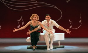 "Meredith Patterson as Judy and David Elder as Phil tap dancing to ""I Love a Piano."" Photo by Kevin White."