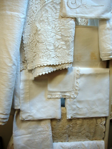 Embroidery, drawn thread-work and fringe add to the personality and appeal of vintage linens.