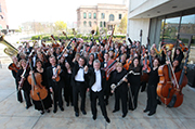 The Des Moines Symphony  at its home at the  Des Moines Civic Center.