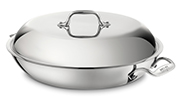 The All-Clad braiser is made of stainless steel.