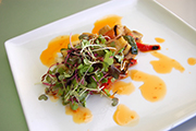 A creative grilled ratatouille salad will be on the Bubble Ball dinner menu.