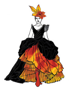 """Just as Nathaniel Hawthorne's work in """"Rappaccini's Daughter"""" is poetic and unique, so is this layered costume, with colors that complement the fierce passion of the plants in the garden."""