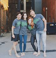 Chris Goodwin, Julia Hogren, Emily Boyd and Derek Cassaday are the powerhouses behind Pop Up Yoga. Photo by Karla Conrad.