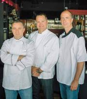 From left: Chefs David Baruthio, Enosh Kelley and Michael Leo.