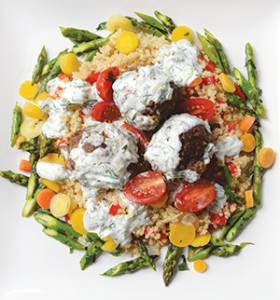 Mediterranean meatballs with tzatziki dipping sauce is one of the takeout specialties offered by Brandy Lueders (inset) at The Grateful Chef.