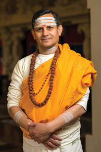 Khimanand Upreti, a priest with the Hindu Temple and Cultural Center of Iowa.