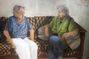 """Mary Kline-Misol, """"The Conversation"""" (2014), acrylic on canvas, 50 X 73 inches. The work was inspired by """"an afternoon spent with my 93-year-old mother and her best friend. They are lifelong friends going back to high school,"""" Kline-Misol says."""