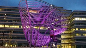 Cowles Commons has a new splash of color, from the 8,000 changing LED lights on Swirl.