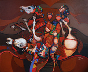 Brilliant colors, fanciful figures and equestrian forms are common themes in al-Obaidi's recent work, rendered in mixed media on a variety of surfaces.