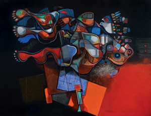 Powerful colors and tangled  forms convey the intensity of al-Obaidi's work.