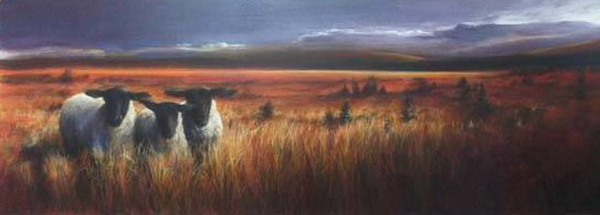 "Michael Brangoccio's ""A Far Country,"" 32-by-93-inch acrylic on canvas."