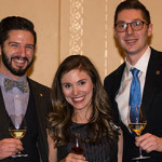 Josh Buchsbaum, left, winner of this year's Iron Somm, enjoys a glass with Winefest's executive director, Natasha Sayles, and Ben Nelsen, who took home last year's award.