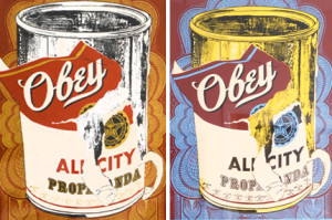 "Detail of a screen print by Shepard Fairey, considered one of today's most influential street artists. In this work, he plays off Andy Warhol's iconic pop works that depict a Campbell's soup can, replacing the traditional label with ""Obey."""
