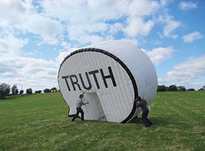 In The Truth Booth, you can record any truth you want to share. The unique art project is coming to Des Moines in September. Photo: courtesy of Cause Collective