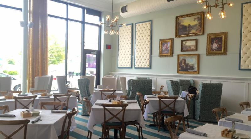 Magnolia Wine Kitchen's fresh interior has a graceful, cream-and-aqua color scheme.